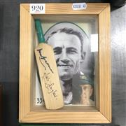 Sale 8863S - Lot 55 - Framed Mini-Bat, signed by both Don Bradman and Mark Taylor.
