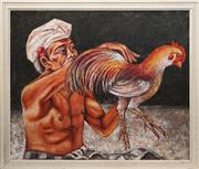 Sale 8850 - Lot 2091B - Balinese School - Man and his Pet Rooster 98 x 117.5cm