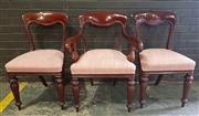 Sale 8956 - Lot 1036A - Set of Eight Mid- Victorian Mahogany Dining Chairs including two Armchairs in an orange striped fabric and on turned reeded legs - r...