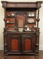 Sale 8976H - Lot 1 - A C17th/ C18th continental fruitwood and marquetry sideboard, the back with central architectural panel flanked by shelves and three...