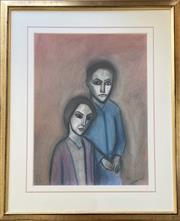 Sale 9044J - Lot 2 - Robert Dickerson - The Couple 74x55cm