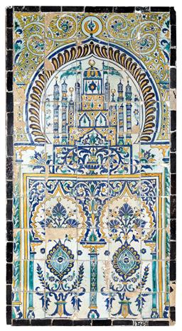 Sale 9130S - Lot 10 - A pair of large C18th Tunisian tile panels depicting a floral vase in typical colours comprising fifty tiles, and a Mosque Arch. Hei...