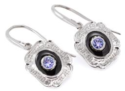 Sale 9140 - Lot 389 - A PAIR OF DECO STYLE TANZANITE, ONYX AND DIAMOND EARRINGS; each centre set with a round cut tanzanite on an  oval onyx ground to a 9...