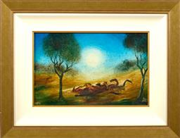 Sale 9150J - Lot 10 - KEVIN CHARLES (PRO) HART (1928 - 2006) Outback oil on board 25 x 39 cm signed lower right & dated 1969 lower left