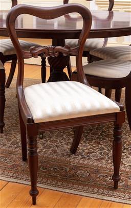 Sale 9190H - Lot 73 - A set of 6 Australian cedar kidney back chairs C: 1940 upholstered in coffee and cream stripes raised on ring and bobbin turned tape...