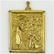 Sale 8372 - Lot 36 - Early Gilt Bronze Religious Scene Golgotha Icon