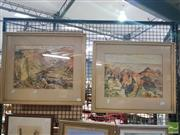 Sale 8548 - Lot 2137 - 2 David Campbell Grand Canyon, Watercolour, both signed, 29x38.5 & 29x39cm