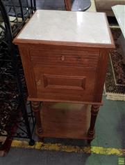 Sale 8566 - Lot 1371 - Victorian Marble Top bedside with Single Door