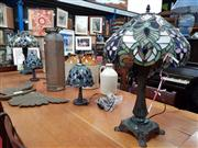 Sale 8697 - Lot 1075 - Collection of 4 Leadlight Shade Table Lamps