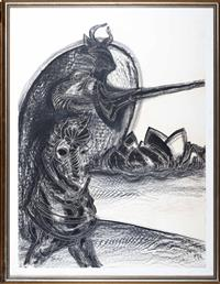 Sale 8735 - Lot 19 - John Aland 1937 - 2005, Don Quixote, Tilting at The Shark, work on paper, signed lower left, provenance Bloomfield Galleries  dated...
