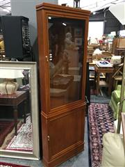 Sale 8851 - Lot 1056 - Timber and Glass Corner Cabinet