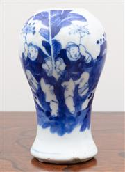 Sale 8868H - Lot 58 - A Chinese blue and white Meiping vase of diminutive size, Height 12.5cm