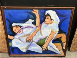 Sale 9101 - Lot 2091 - Clementine Browne The Fall of the Pyschys Sisters, 1991oil on canvas, 120 x 145cm signed -