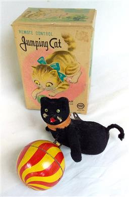 """Sale 9142A - Lot 5108 - Vintage Japanese tin Wind-up Toy Cat with ball c1930: with key and """"Jumping Cat"""" box (makes meowing sound), excellent working condition"""