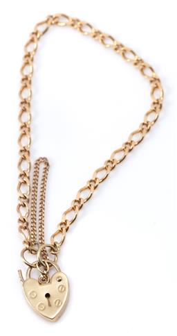Sale 9182 - Lot 387 - A 9CT GOLD PADLOCK BRACELET; 3mm wide figaro chain to heart shape padlock clasp with safety chain, length 20cm, wt. 3.96g.