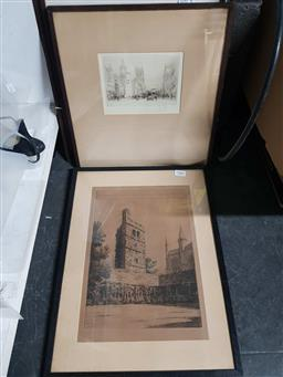Sale 9176 - Lot 2282 - Collection of four vintage framed works inc one of Oxford