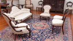 Sale 9190H - Lot 147 - An antique English 7 piece drawing room suite C: 1880, comprising a camel back settee, an arm chair and crinoline chair with 4 matc...