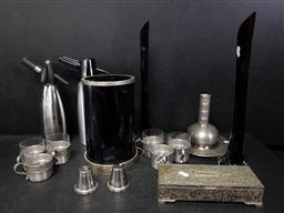 Sale 9254 - Lot 2225 - Sundries incl. Pair Red Glass Vases, Syphons, Pewter Drinks Set, Light Shades, Decorated Bowl, etc